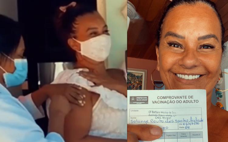 Solange Couto é uma das primeiras celebridades a tomar vacina da Covid-19